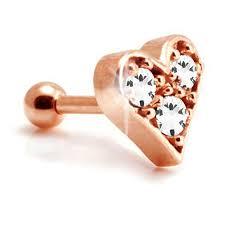 heart cartilage gold gem heart cartilage piercing bar tragus studs 1 2mm