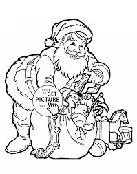 claus with gifts coloring pages for kids printable free