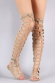 cape open lace up front thigh high gladiator sandals