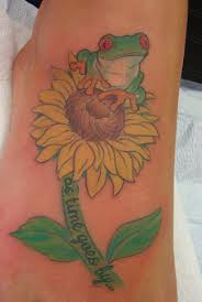 for unique color tattoos tattoos tree frog on sunflower tattoo