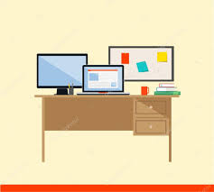 flat design vector illustration of modern workspace computer desk