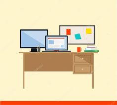 Flat Computer Desk Flat Design Vector Illustration Of Modern Workspace Computer Desk