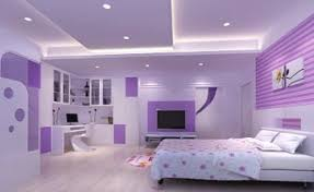 Purple Bedroom Design White Ceiling Using Led Light And Modern Recessed Lighs For