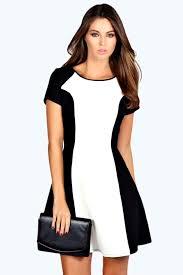 charlie cap sleeve colour block swing dress office chic