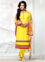 pristine yellow cotton lace work party wear designer salwar suit