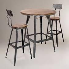 metal bar table set 3pcs retro fountain style black chrome finish bar table 2 stool set