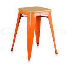 Orange Leather Swivel Chair Bar Stools Metal Bar Stools Counter Height Industrial With Back