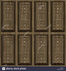 ornate and intricate carved wooden panel wall stock photo royalty