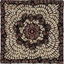 Noce Marble Fleur Dis Lis Mosaic Medallion Design Backsplash - Kitchen medallion backsplash