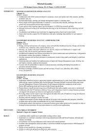 sle resume for business analyst role in sdlc phases system salesforce business analyst resume sles velvet jobs