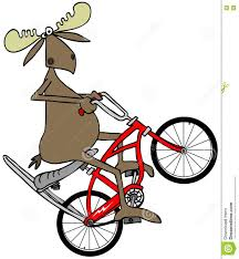 sissy cartoons moose popping a wheelie on a bicycle stock illustration