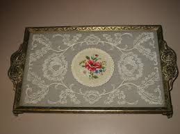 vanity trays for perfume english embroidered glass and filigree vanity tray vintage from