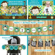 Baby Boy Monkey Theme Mod Monkey Birthday Party Package Monkey Invitation Mod Monkey