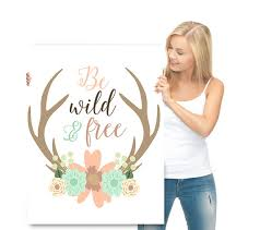 Deer Themed Home Decor Girl Room Decor Inspirational Art Watercolor Flowers Deer Kids