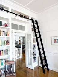 Bookshelf Fillers White Built In Bookcases With Black Library Ladder Sfgirlbybay