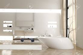 modern bathroom with a funky white bathtub and wall mounted vanity