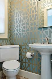 powder rooms with wallpaper powder room with blue and gold trellis wallpaper contemporary