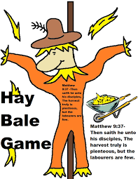 hale bale game kids dig through hay to find prizes church