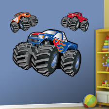 jungle animals group big monster trucks nursery