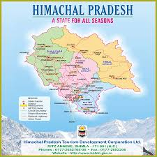 himachal tourist road map with places distances from major cities