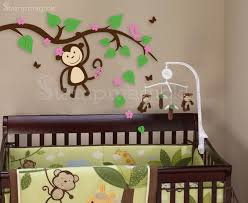 Nursery Monkey Wall Decals Monkey On Branch Wall Decal K001b Stmagick Wall Decals