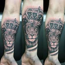 tattoo trends forearm sleeve mens lion with crown tattoos