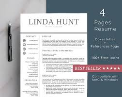 2 Page Resume Template 2 Page Resume Etsy