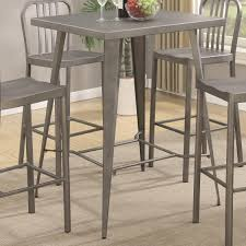 coaster dining room furniture coaster 105938 square metal bar height dining table in gunmetal finish