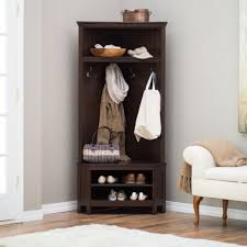 hall tree coat rack bench storage furniture corner shoe living