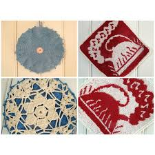 bureau d ude m anique 2 maniques rétros en crochet et en tissu made in usa
