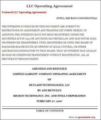 limited liability company operating agreement forms llc operating