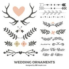leaves and wedding ornaments vector premium