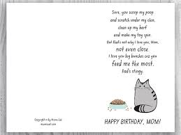 printable birthday card for cat moms funny cat birthday card