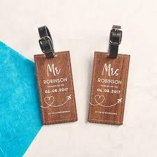 wedding luggage tags personalised walnut wedding luggage tags by oakdene designs