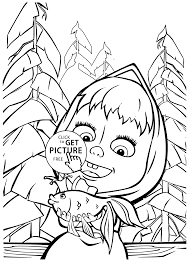 masha bear coloring pages kids printable free coloing