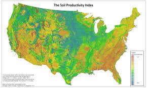 Map Of Continental United States by U S Soil Productivity Index Vivid Maps