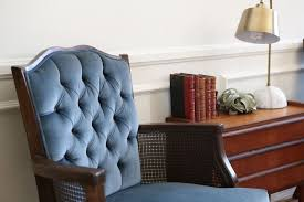 mid century vintage tufted velvet wingback chair navy blue by