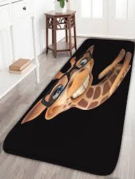 Black And Brown Rugs Cartoon Giraffe Glasses Print Flannel Skidproof Bath Rug Black