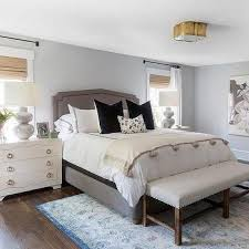 blue velvet bed with leather nightstands contemporary bedroom