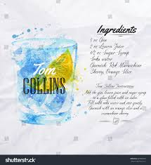 tom collins ingredients tom collins cocktails drawn watercolor blots stock vector