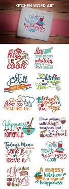 Machine Embroidery Designs For Kitchen Towels Our Kitchen Word Design Set Includes 12 Kitchen