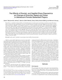 the effects of frontal plane and sagittal plane plyometrics on