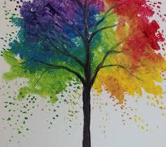 rainbow tree painting at home