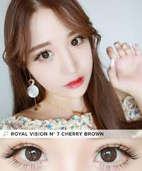 royal vision 7 cherry brown color contacts brown eyes