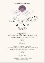 brunch wedding menu scallop swirl seashell wedding menu cards brunch menus and