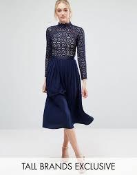 little mistress tall long sleeve lace top pleated midi dress navy