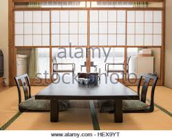 interior of traditional japanese house dining room at the