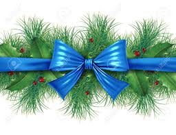 Christmas Decorations Blue Bows by Blue Silk Bow With Pine Border Ornamental Holiday Decoration