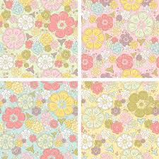 pastel seamless floral pattern in four color combinations royalty