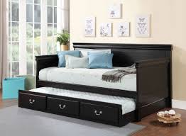 acme 39095 bailee black wood trundle twin daybed
